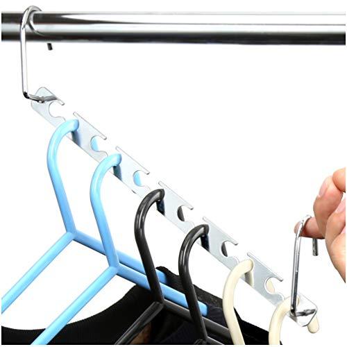 H & S, 6 appendiabiti salvaspazio con ganci per appendere grucce per abiti e guardaroba, appendiabiti salvaspazio in metallo