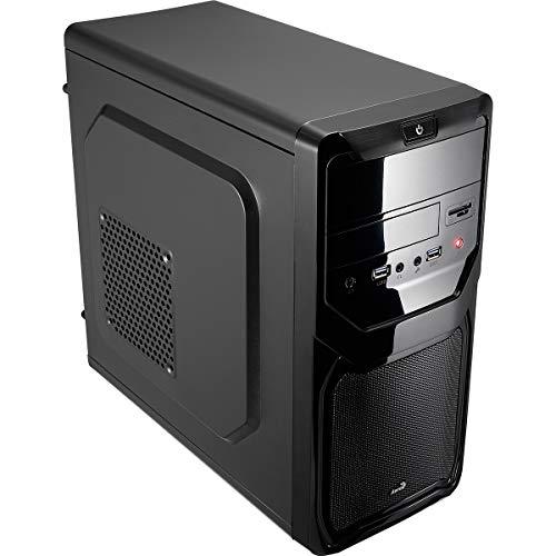 AeroCool QS183AD- PC-Computergehäuse (Micro ATX, Mini-Tower, 4 Erweiterungssteckplätze, inklusive Rear Fan 8 cm, USB 3.0, HD-Audio, Mikrofon), schwarz