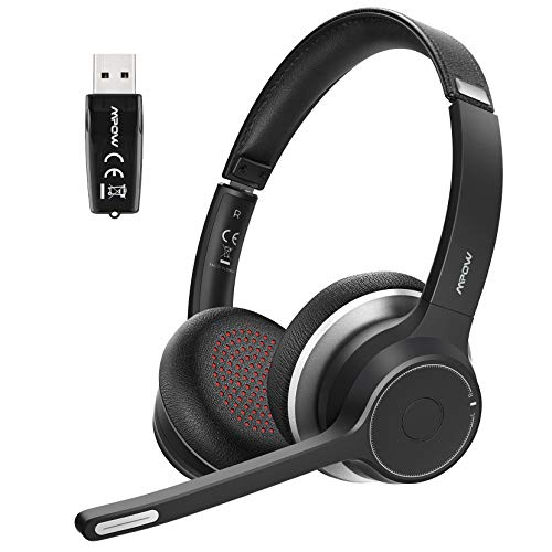 Mpow Bluetooth Headset V5.0 with Adapter, Wireless PC Headphones with Dual Microphone, CVC8.0 Noise Canceling, Office Headset for Computer, Cell Phone, Skype, MS Team, Call Center(Wired Optional)