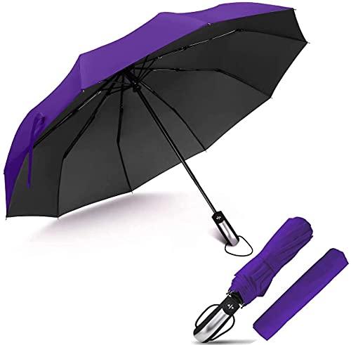 Pkfinrd Paraguas soleado y lluvioso de doble propósito apertura automática de negocios plegable de tres pliegues, resistente al viento, compacto y ligero con mango antideslizante
