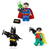 LEGO DC Super Heroes Combo Pack - Superman, Batman, and Robin Minifigures with Accessories and Display