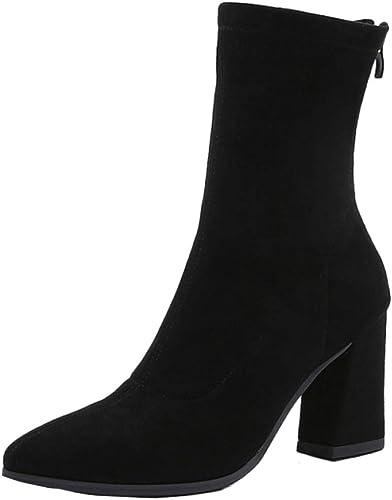 Botines mujer Tacón Alto Medio Cremalleras Traseras botas Femeninas botas Tobillo mujer Punto Grueso