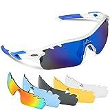 HODGSON Fahrradbrille Sport Sonnenbrille für Herren und Damen Polarisierte, Sportbrille mit 5 Wechselobjektiven und Radsports, Baseball, Laufen, Tr90-Weiß/Blau …