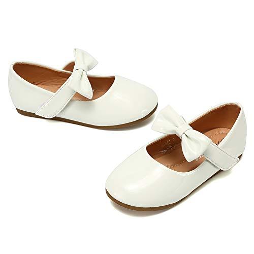 CIOR Toddler Girls Ballet Flats Shoes Ballerina Bowknot Jane Mary Wedding Party Princess DressU1U1DNDGZX01-White-27