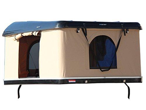 Prime Tech Hartschalen-Autodachzelt, GFK schwarz/beige, Öffnung automatisch