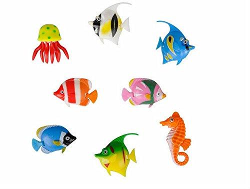 8 Stück Bunte Kunststoff-Fische, Set mit verschiedenen Meerestieren für Sprudel-/Wassersäulen, Tropische Fische, Qualle und Seepferdchen