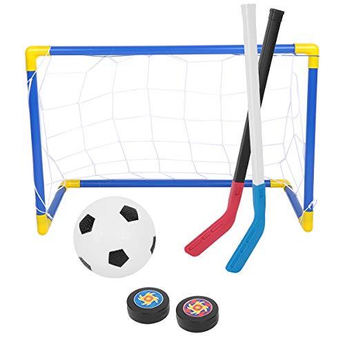 Tianhaik 2 en 1 Juguetes Deportivos para Niños Pelota de Fútbol de Hockey Establece Metas Netas Palos de Hockey sobre Hielo con Bomba Manual