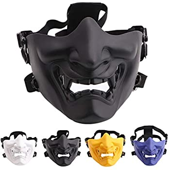 Outgeek Airsoft Mask Halloween Mask Cover Prop Mask Half Face Mask for CS Cosplay Paintball Hunting Shooting