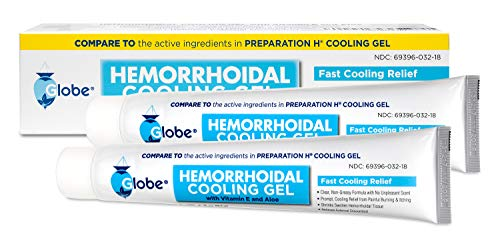 2 Pack Hemorrhoidal Cooling Gel for Fast Relief with Vitamin E and Aloe Tube (2 X 1.8 OZ Tubes) Compare to Preparation H Cooling Gel