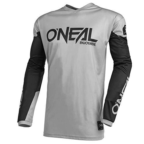 O'NEAL | Motocross-Trikot | Enduro MX | Atmungsaktives Material, gepolsterter Ellenbogenschutz, Passform für maximale Bewegungsfreiheit | Jersey Element Threat | Erwachsene | Grau Schwarz | Größe L