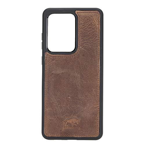 Solo Pelle Lederhülle für das Samsung Galaxy Note20 Ultra 5G | Note 20 Ultra Hülle aus echtem Leder, Model: Stanford (Vintage Braun)