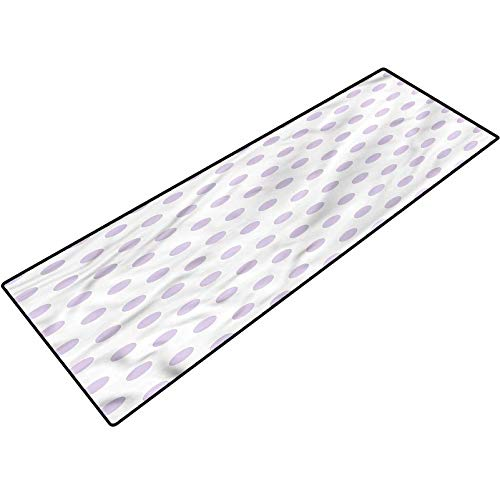 Lavender Outdoor Rugs Polka Dots Classical Tile Non-Slip Floor Mat for Entry Patio 20x32 Inch