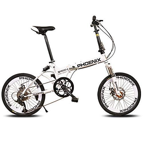ZPEE Outdoor Road Folding Bike,Carbon Steel 8 Variable Speed Disc Brake Shock Speed Mountain Bike,20 Inch Adjustable Bikes Bicycle for Men Women