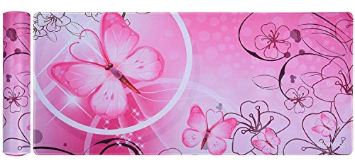 Large XXL Gaming Mouse Pad Extended Desk Pad Pink Cute Mouse Pad with Waterproof Surface-Optimized Gaming Surface,Non-Slip Rubber Base Sticthed Edge Mousepad (35'x15.55'x0.08')-Pink Butterfly
