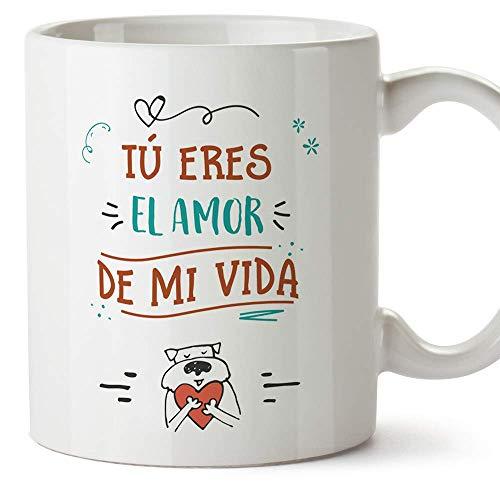 MUGFFINS Taza San Valentín (Te quiero) - Amor de mi vida - Regalos Originales y Divertidos de Aniversario para Novios, Enamorados, Pareja.
