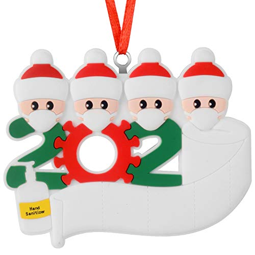 Price comparison product image UpdateClassic 2020 Quarantine Personalized Ornaments Survivor Family of 4 with Face Masks Hand Sanitized Christmas Ornament