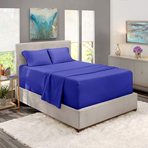 Spannbettlaken mit extra tiefem Taschenformat, 4-teiliges Set, extra tiefe Spannbettlaken, 152,4 x 203,2 cm, Königsblau