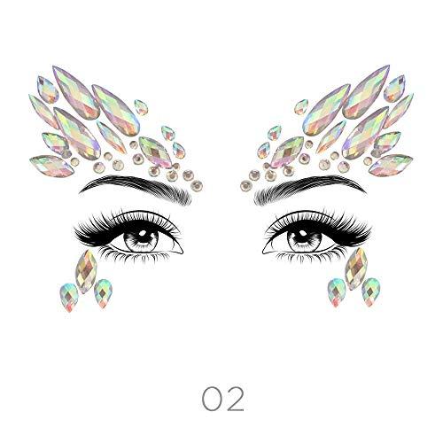 (STYLE 02) - Glamza Face Crystal Sticker 6 Gems Set Women Mermaid Rave Festival Glitter Rhinestone Temporary Tattoo Face Jewels Face Sticker Eyebrow F