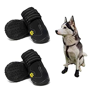 MIEMIE Dog Boots,Waterproof Dog Shoes,Dog Booties with Reflective Rugged Anti-Slip Sole and Skid-Proof,Outdoor Dog Shoes for Small Medium and Large Dogs 4Pcs Size 6 Black