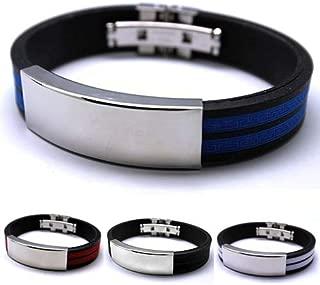 Haiyu mens bracelet Men'S Stainless Steel Bracelet Rubber Black Silver Multicolor Jewelry Movement