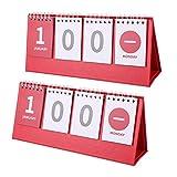 Homoyoyo 2 Piezas de Calendario de Cuenta Regresiva de Pie Calendario de Escritorio Continuo Calendario Plegable Calendario de Escritorio Calendario Planificador para Bodas Vacaciones