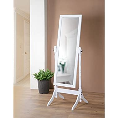 Wooden Cheval Bedroom Floor Mirror with Twisted Post in White Finish