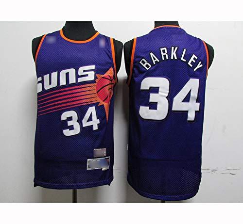 ATI-HSKJ Männer Basketball-Trikots Phoenix Suns # 34 Charles Barkley Neuer Sport Tops Basketball Westen Breathable Ärmel Jersey Blau BH446,2XL:185cm~190cm