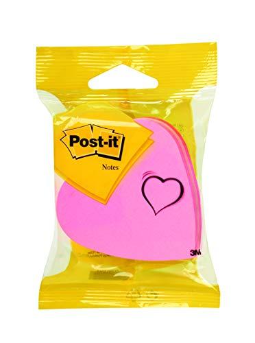 Post-it 2007H Haftnotiz Würfel Stanzformen, 70 x 70 mm, Herz, dreifarbig, 225 Blatt -weiteren Formen verfügbar