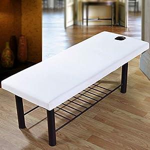 Yzki - Sábana de masaje para masaje de belleza, cubierta para sofá con orificio facial, borde de cordón elástico para todo el mundo, funda de cama de masaje suave profesional, 70 x 190 cm (blanco)