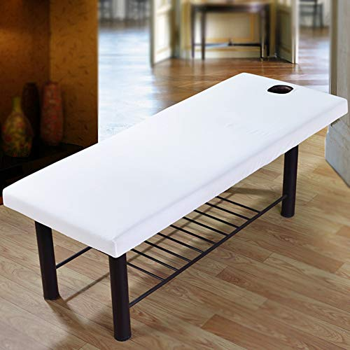 Massage Bed Sheet met Gat, Woopower Beauty Massage Bed Elastische Hoeslaken Cover Schoonheidssalon Spa Massage Gezichtsmassage Effen All-Round Wrap Hoeslaken (wit)