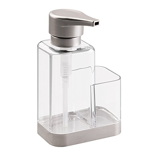 mDesign Modern Plastic Kitchen Sink Countertop Liquid Hand Soap Dispenser Pump Bottle Caddy with Storage Compartment - Holds and Stores Sponges, Scrubbers and Brushes - Clear/Brushed