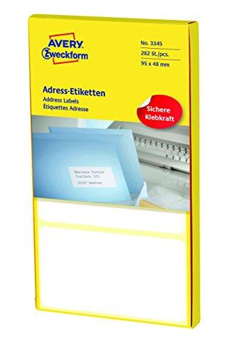 AVERY Zweckform 3345 Adress-Etiketten (Papier matt, 282 Etiketten, 95 x 48 mm) 1 Pack weiß