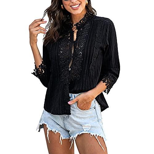 Primavera Y Verano, Camiseta Informal con Cuello En V, Color SóLido, De Manga Larga, con Estampado De Encaje Y Ganchillo, Camiseta para Mujer