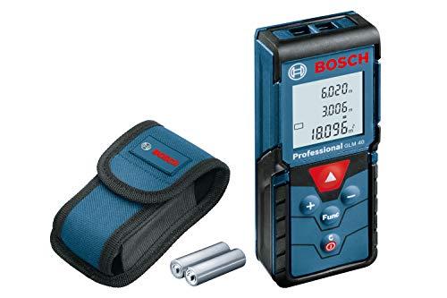 Bosch Professional Laser Entfernungsmesser GLM 40 (Flächen-/Volumenberechnung, max. Messbereich: 40 m, 2x 1,5-V Batterien, Schutztasche)