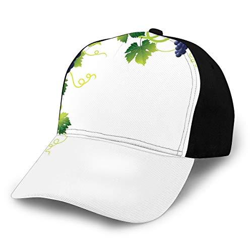 Hip Hop Sun Hat Baseball Cap,Summer Season Vineyard Composition Weeping Vines Bunch of Blue...