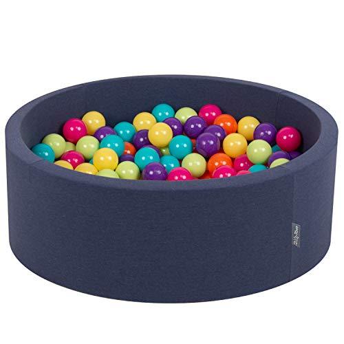 KiddyMoon Bällebad 90X30cm/200 Bälle ∅ 7Cm Bällepool Mit Bunten Bällen Für Babys Kinder Rund, Blau:Hellgrün/Gelb/Türkis/Orange/Dunkelpink/Violet