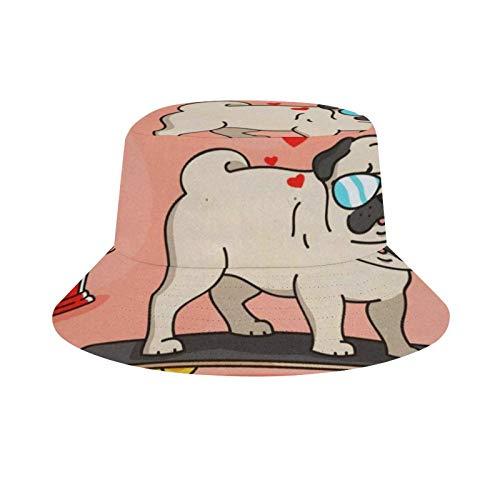 HARORU Unisex Bucket Hat Fisherman Cap Reversible Fashion Beach Hats for Outdoor Travel (Cute Skate Pug)