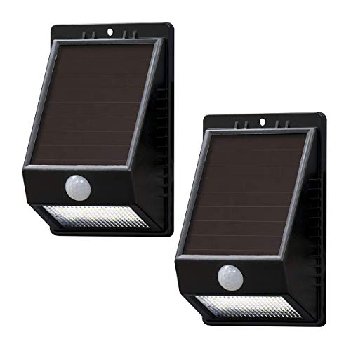 Amazon Basics Waterproof Solar-powered Motion Sensor Wall Light for Front Door, Patio, Yard, and Porch - 8 LED, 100 Lumen, Up to 120 Detection Angle, 2-Pack