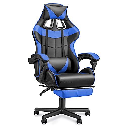 Soontrans Silla Gamer Silla Gaming Ergonómica Silla Oficina, con Reposacabeza Apoyo y Cojín Lumbar, Altura Ajustable, para Los Jugadores de PC Gamer (Azul)