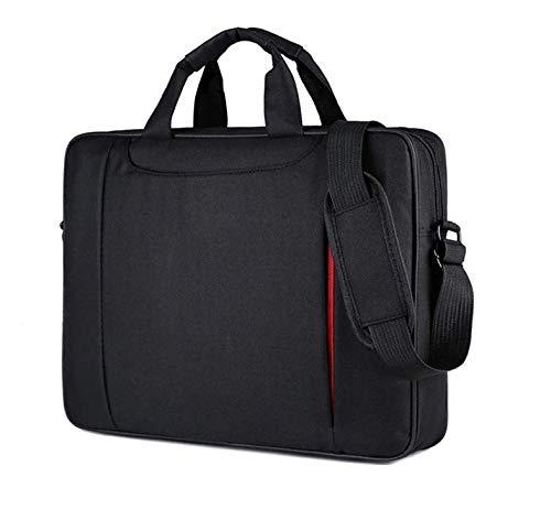 """Omaska Borsa per Notebook 15,6"""" con tasche a cerniera, borsa a tracolla nera, per accessori high tech, cancelleria e libri"""