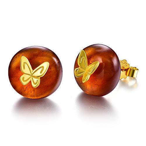 Regalo para ti Springlight S925 Pendientes de botón de mariposa de plata esterlina Piedra de ámbar Joyas únicas hechas a mano para mujeres y niñas(Gold butterfly)