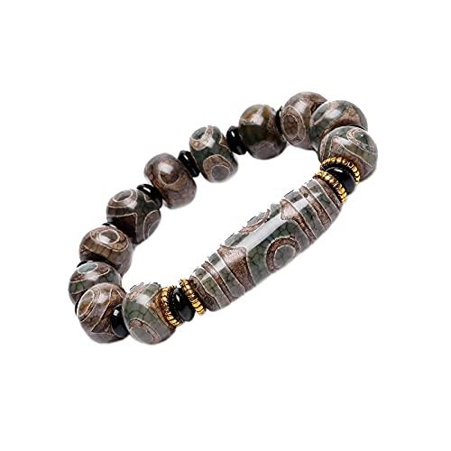 OMVOVSO Pulsera Feliz, Los Granos Naturales del Amuleto Tibetano Pulsera De La Pulsera De La Riqueza De Energía Positiva Y Buena Suerte,A