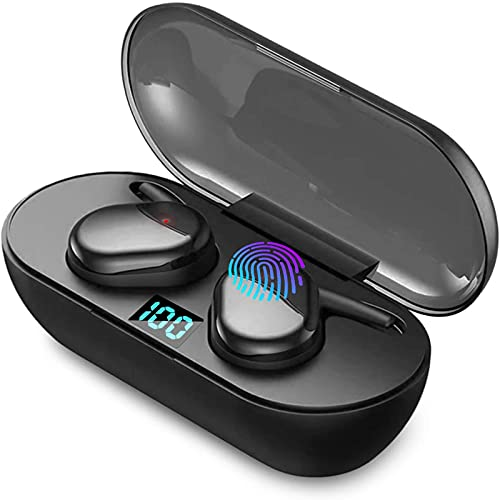 Wireless Earbuds,Bluetooth 5.0 Wireless Headphones,3D Stereo Earphones with Microphone and Led Display Charging Box, IPX7 Waterproof,Touch Control in-Ear Deep Bass Noise-Canceling (Black)