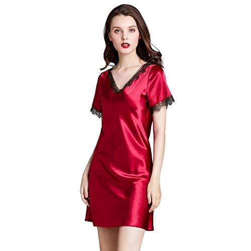 Ärmel Pyjama Seide Kurzarm Nachthemd, Trainingsanzug, Frauen Negligés, Nachthemd
