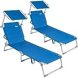 CASARIA 2X Lettino Prendisole Pieghevole Spiaggia Alluminio Sdraio Tettuccio Giardino Mare 190cm