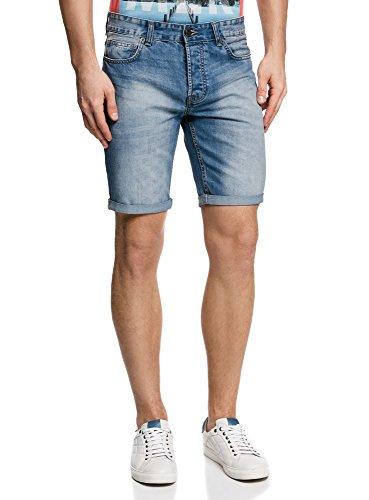 oodji Ultra Hombre Pantalones Cortos Vaqueros Básicos, Azul, 36