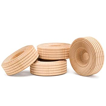 Wood Toy Wheels Treaded Style 2-3/4 Inch Diameter Pack of 12 for Crafts and DIY Toy Cars by Woodpeckers