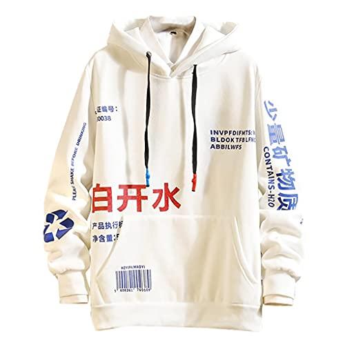 RYTEJFES Herren Hip Hop Hoodie Japanischer Streetwear Jumper Alphabetdruck Langarm Kapuzenpullover mit Känguru-Tasche Mode Beiläufig Oversized Hoodie Sweatshirt Kapuzenpulli Top
