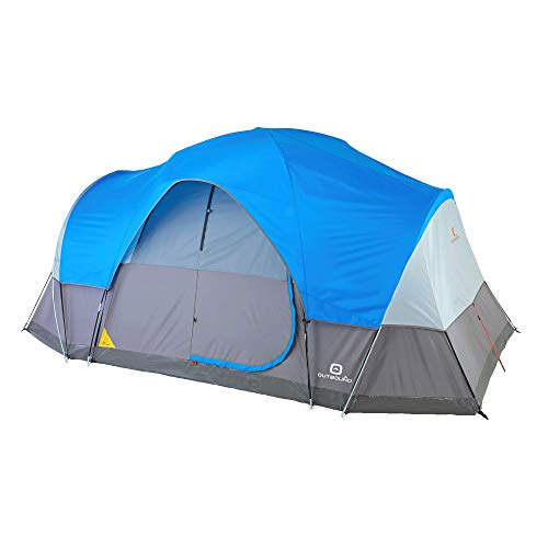 Outbound Dome Tent for Camping with Carry Bag and Rainfly | Perfect for Backpacking or The Beach | 8 & 12 Person | Blue