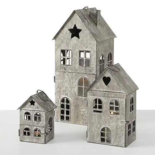 Metall Laterne Häuser im 3er Set - Höhe der Laternen: 34 / 21 / 12 cm - Deko Windlicht Haus - Kerzenhalter Häuser für Innen und Außen
